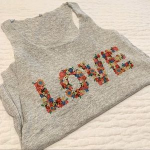 Tops - NEW Heather Gray Floral LOVE Yoga Tank - Small